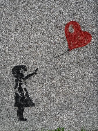 Girl trying to reach the heart balloon illustration