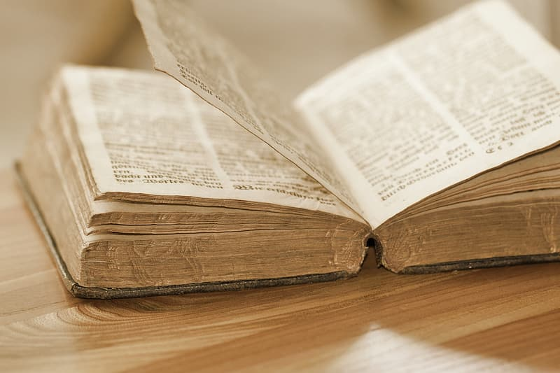 Bible flipped open and placed on brown wooden board