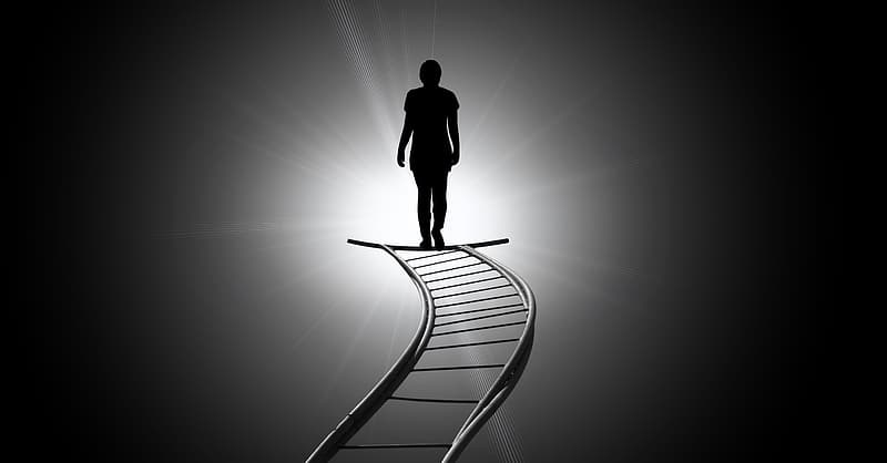 Silhouette of person on ladder illustration