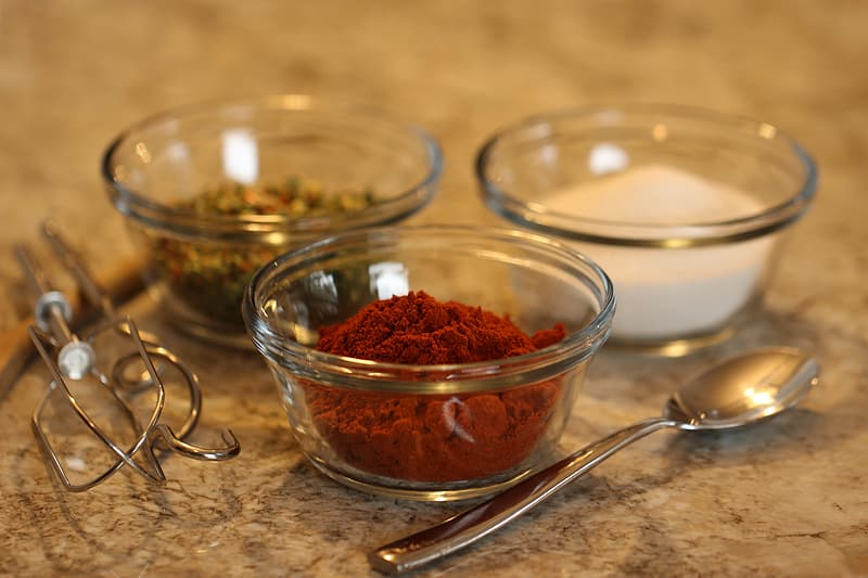 Condiments on clear glass bowls