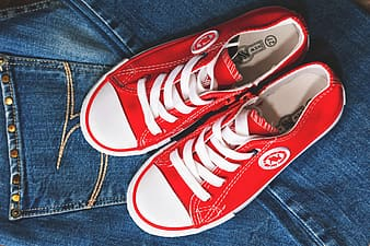 Denim and red shoes