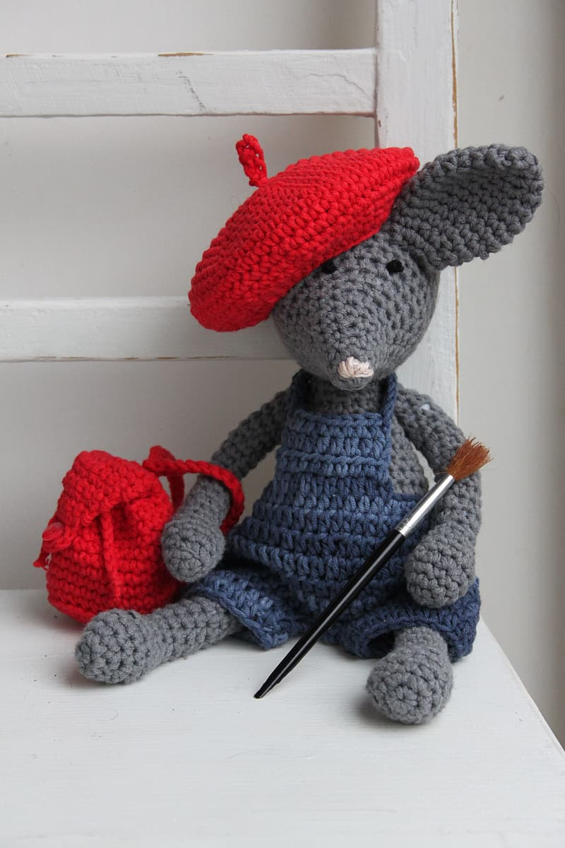 Gray and red mouse amigurumi doll