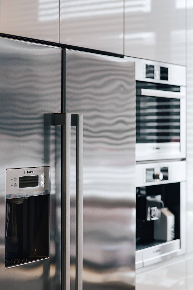 Silver and black microwave oven