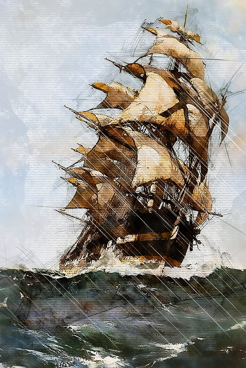 Brown galleon painting