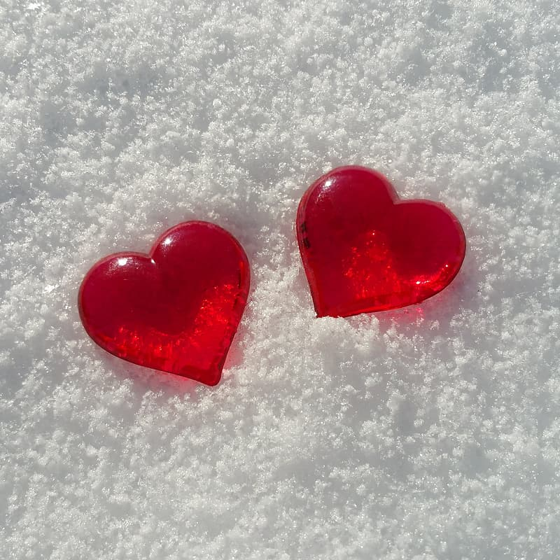 Two red heart decors