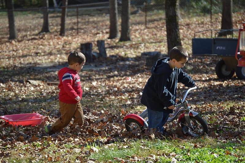 Two boy playing on the park