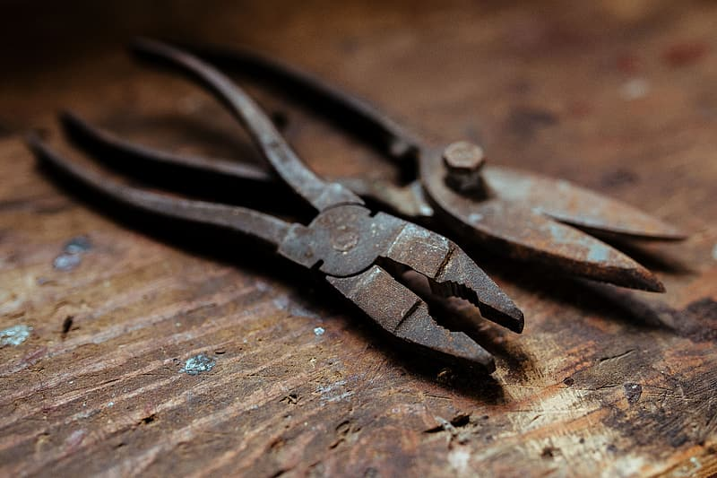 Tools, nails and bolts in a workshop
