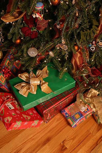 Assorted gift boxes beside christmas tree