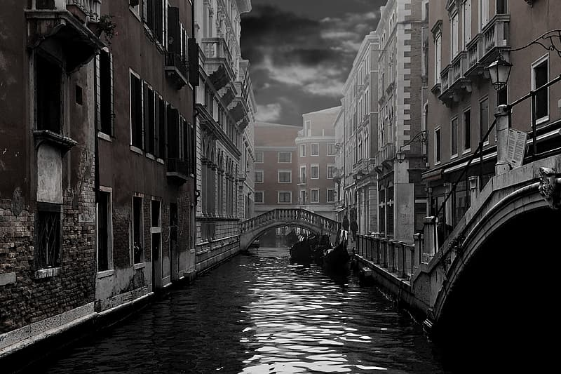Grayscale photography of Bridge of Sigh