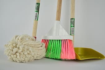 White floor map, broom and dustpan