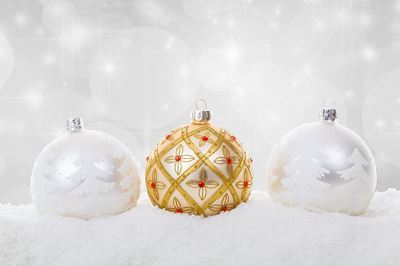 Three gray and gold baubles