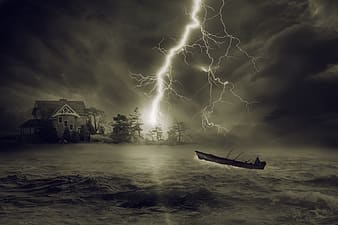 Grayscale illustration of boat in ocean and lightning strike