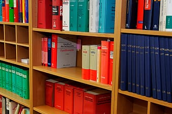 Close-up photo of assorted book display on shelf