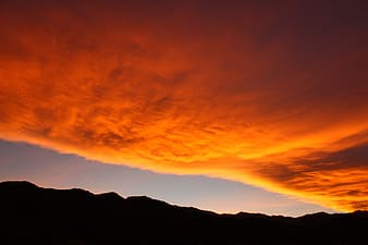 Silhouette photo of land under brown sky