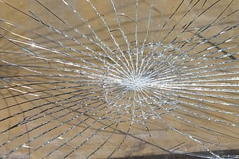 Close-up photo of glass cracked