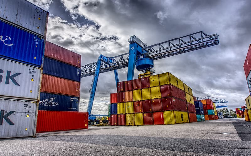 Blue and red cargo containers