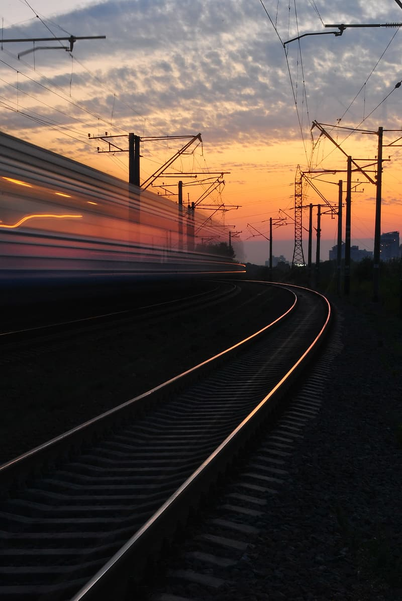 Time-lapse photography of train