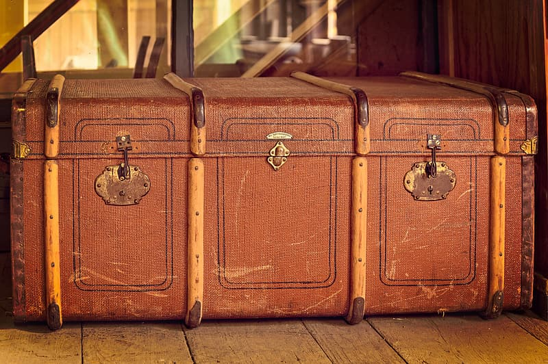 Brown wooden chest box with padlock