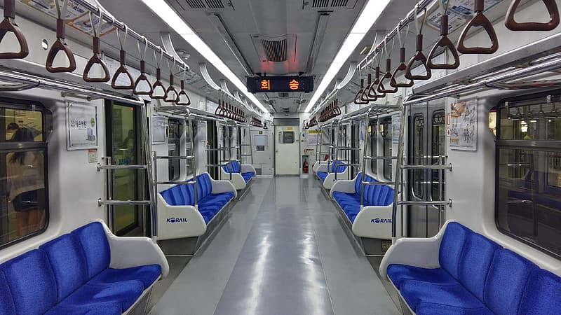 Blue and white train seats