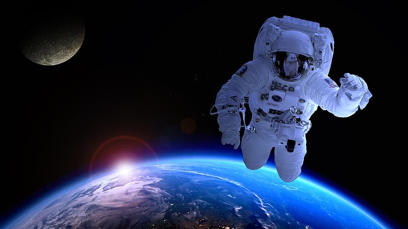 Astronaut floating above earth