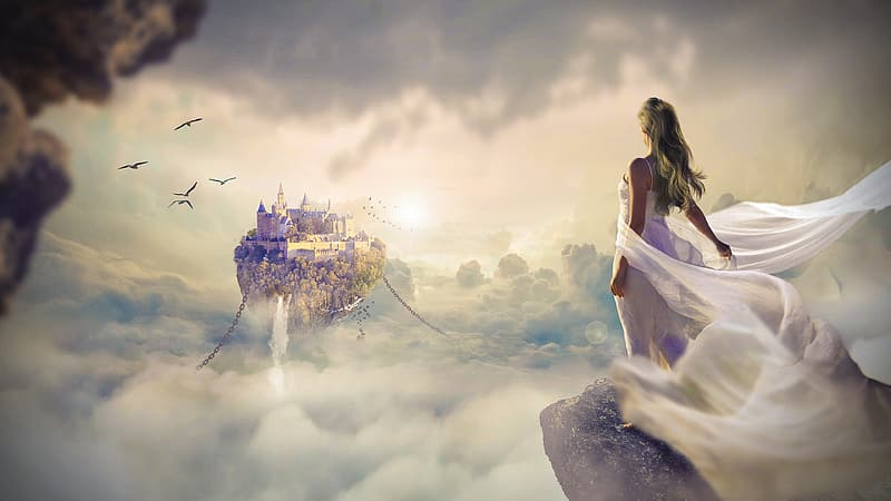 Women's black and white floral dress, woman wearing white draped dress standing on cliff near clouds and floating castle digital wallpaper