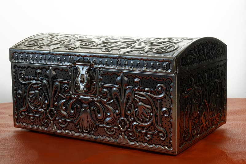 Brown metal chest box