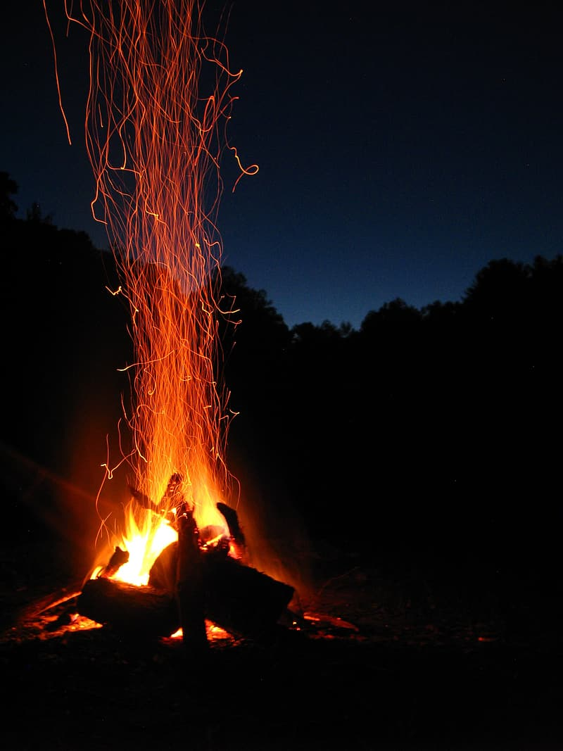 Burning firewoods at night