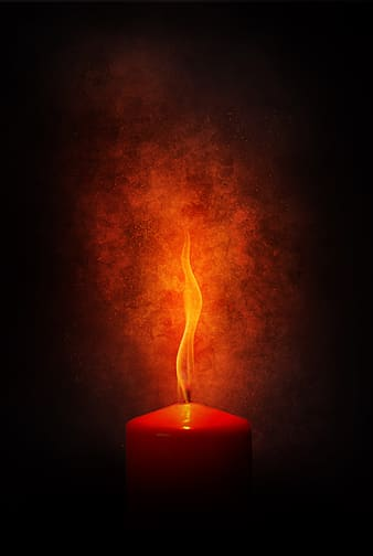 Red candle with fire