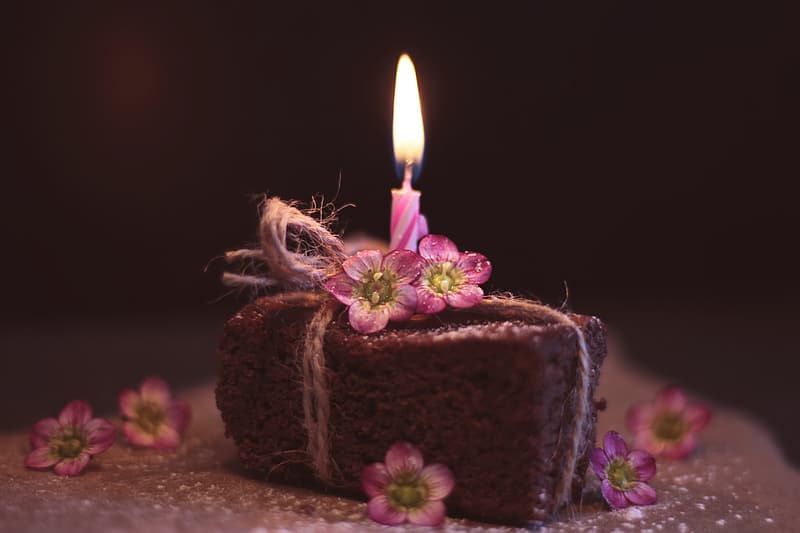 Purple and brown cake with lighted candles