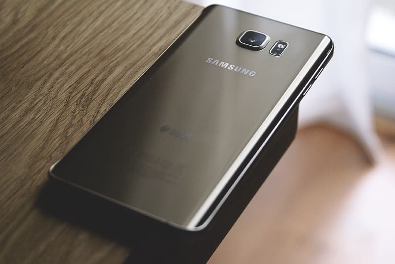 Samsung Galaxy smartphone on table edge