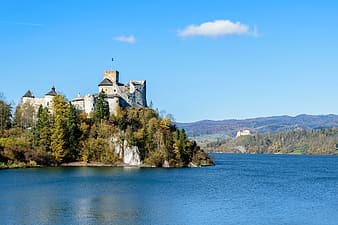 Castle next to body of water