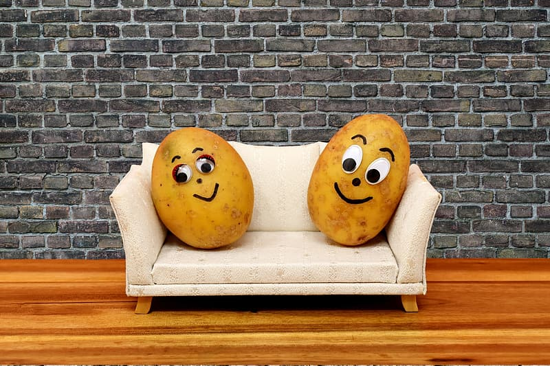 Wood, couch potatoes, funny, potatoes, lazing around, sofa, couch, cute, faces, pair