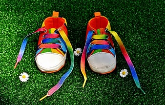 Pair of rainbow-colored sneakers
