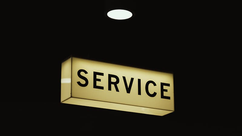 Turned-on service signage