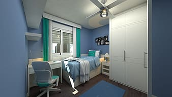 White wardrobe beside bed and window