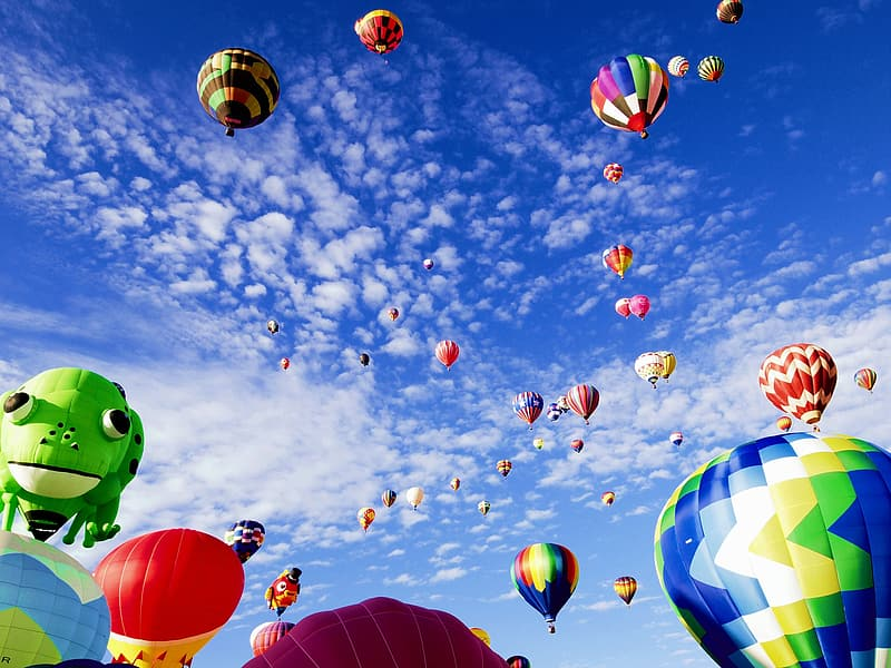 Photo of flying hot air balloon lot