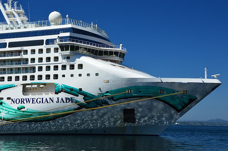 White and green cruise ship on sea during daytime