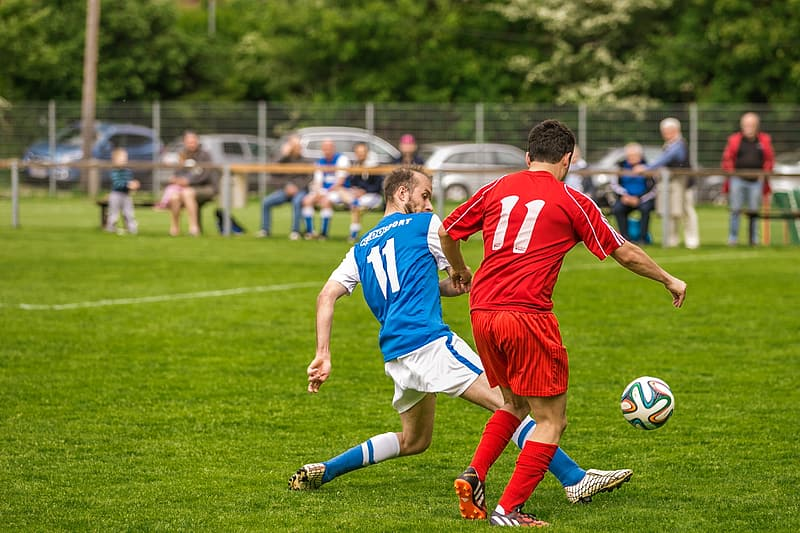 2 men in red and blue soccer jersey playing soccer on green grass field during daytime