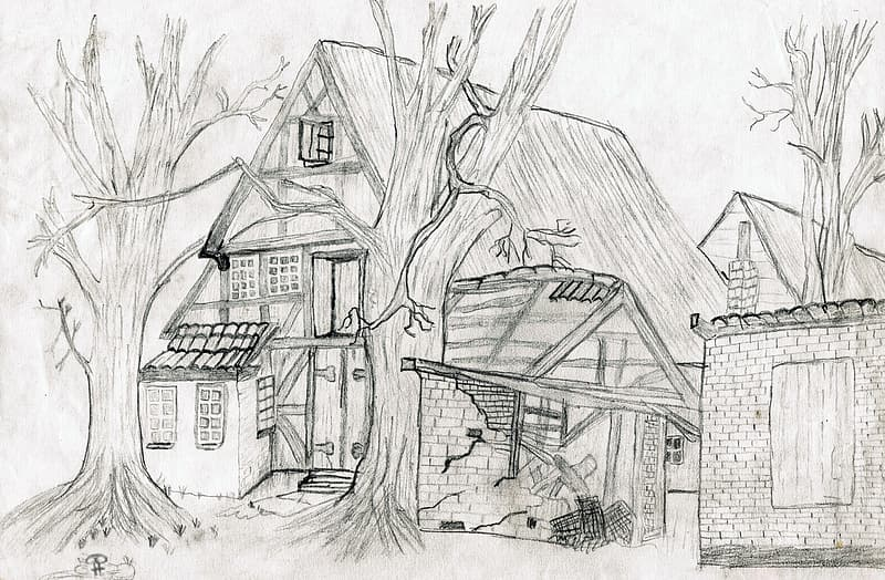 Close-up photo of sketch of house and bare tree