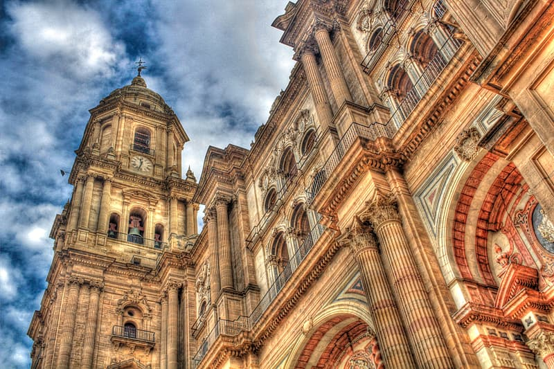 Low angle view of brown cathedral at daytime