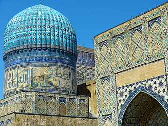 Brown and blue mosque