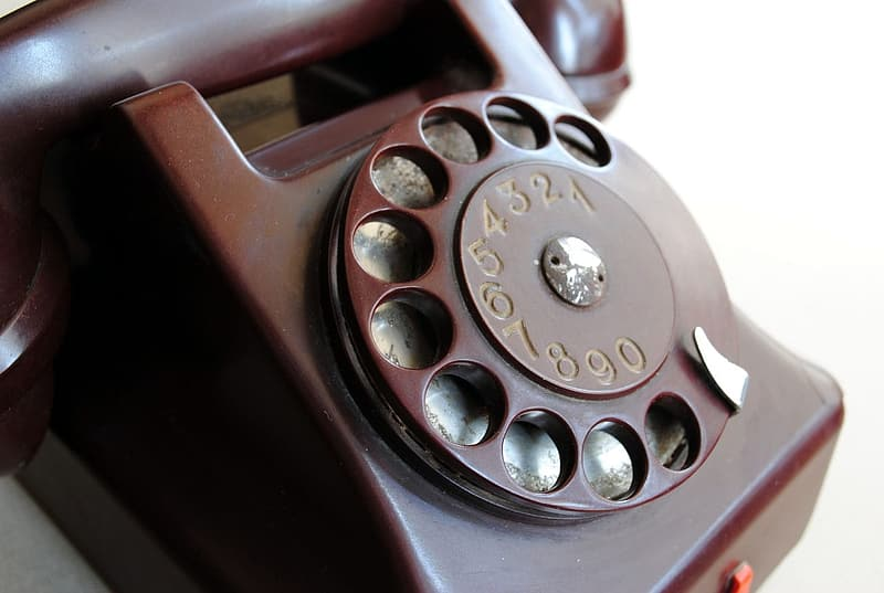 Close-up photography of rotary phone