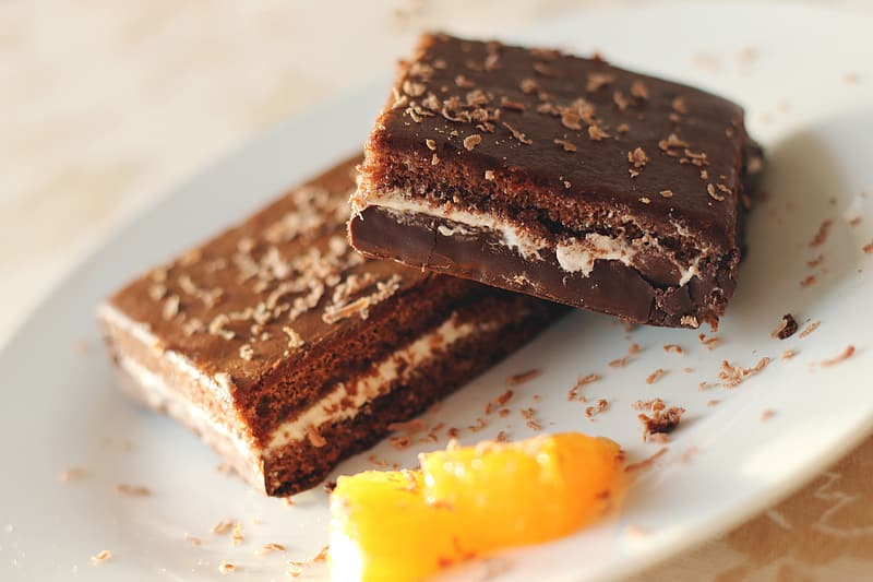 Chocolate cakes on plate