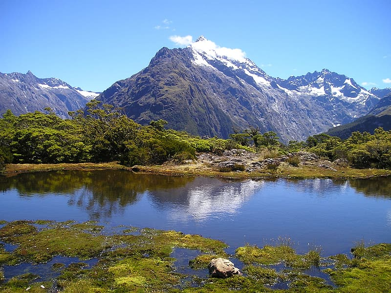 Photo of mountain near trees and body of water