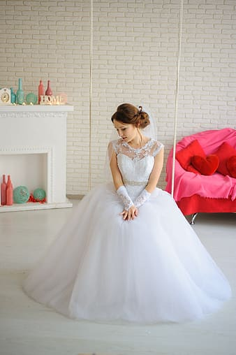 Women's white wedding dress