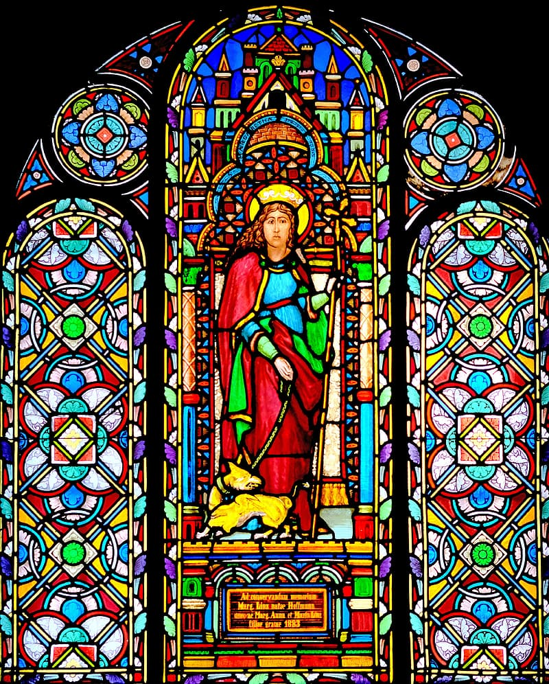 Virgin mary and jesus christ stained glass
