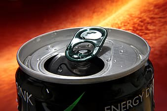Opened black energy drink can