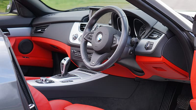 Black and red BMW vehicle interior