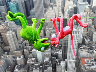 Pink panther and Kermit the frog plush toys on green string across city building