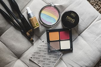 Closeup photo of several cosmetic products